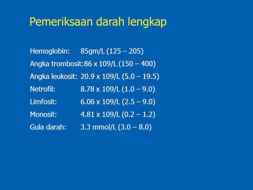 Hemoglobin:85gm/L (125 – 205) Angka trombosit:86 x 109/L (150 – 400) Angka leukosit:20.9 x 109/L (5.0 – 19.5) Netrofil: 8.78 x 109/L (1.0 – 9.0) Limfo