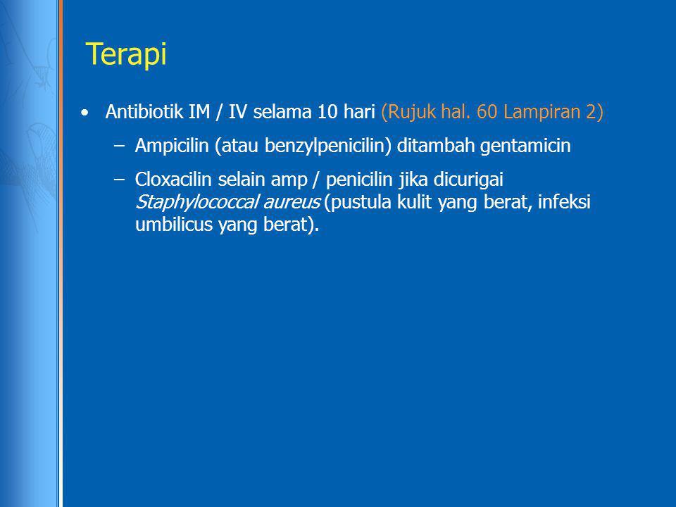 Terapi Antibiotik IM / IV selama 10 hari (Rujuk hal. 60 Lampiran 2) –Ampicilin (atau benzylpenicilin) ditambah gentamicin –Cloxacilin selain amp / pen