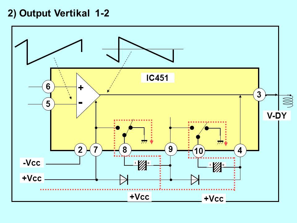 - + 7 - + +-+- 4 8 9 10 3 5 6 +Vcc -Vcc 2 2) Output Vertikal 1-2 +Vcc IC451 V-DY