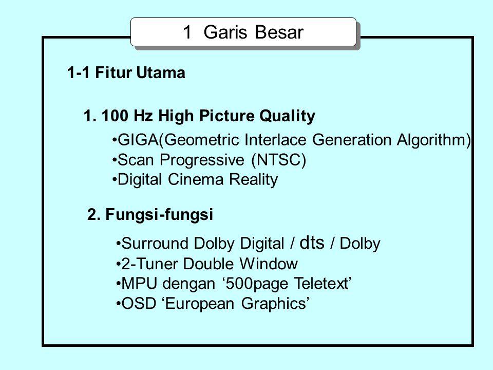 1 Garis Besar 1. 100 Hz High Picture Quality GIGA(Geometric Interlace Generation Algorithm) Scan Progressive (NTSC) Digital Cinema Reality 2. Fungsi-f