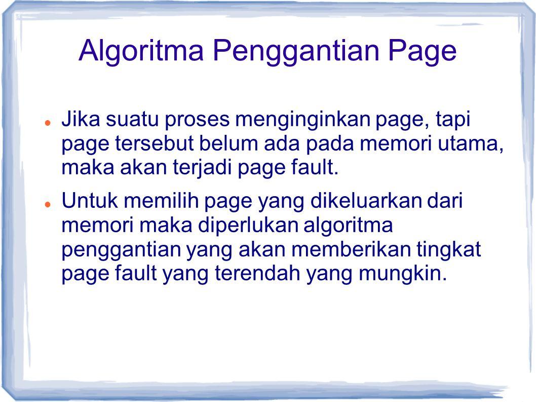 Algoritma Penggantian Page Jika suatu proses menginginkan page, tapi page tersebut belum ada pada memori utama, maka akan terjadi page fault.
