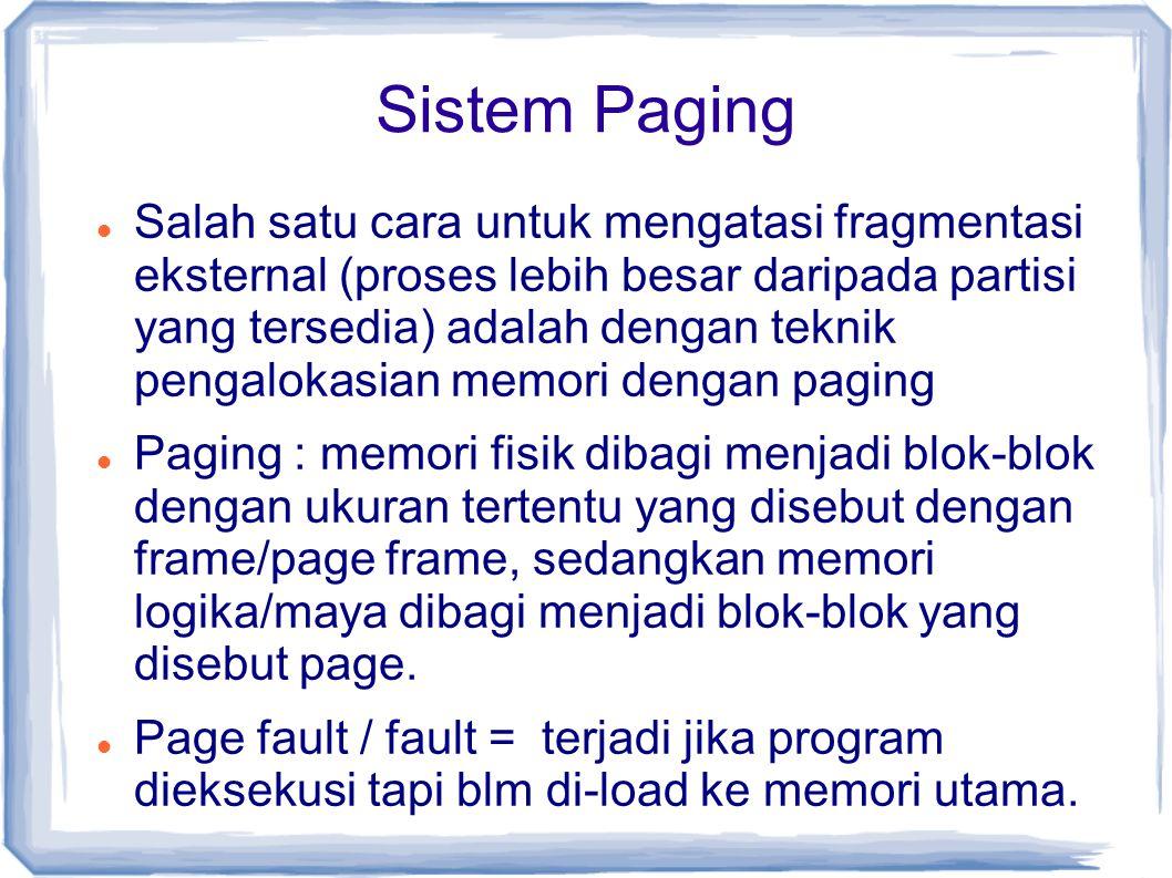 Sistem Paging Salah satu cara untuk mengatasi fragmentasi eksternal (proses lebih besar daripada partisi yang tersedia) adalah dengan teknik pengalokasian memori dengan paging Paging : memori fisik dibagi menjadi blok-blok dengan ukuran tertentu yang disebut dengan frame/page frame, sedangkan memori logika/maya dibagi menjadi blok-blok yang disebut page.