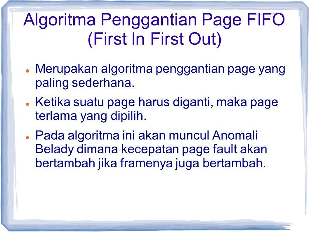 Algoritma Penggantian Page FIFO (First In First Out) Merupakan algoritma penggantian page yang paling sederhana.