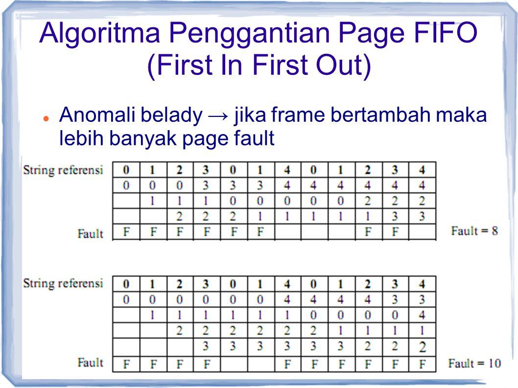 Anomali belady → jika frame bertambah maka lebih banyak page fault