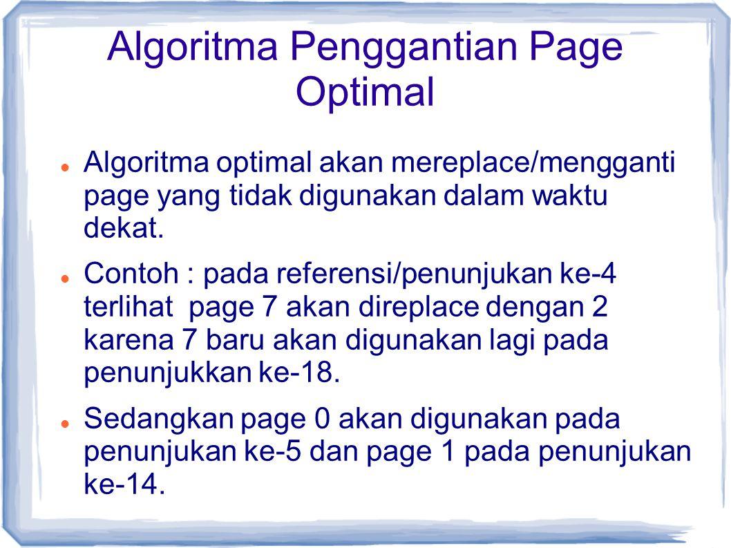 Algoritma Penggantian Page Optimal Algoritma optimal akan mereplace/mengganti page yang tidak digunakan dalam waktu dekat.