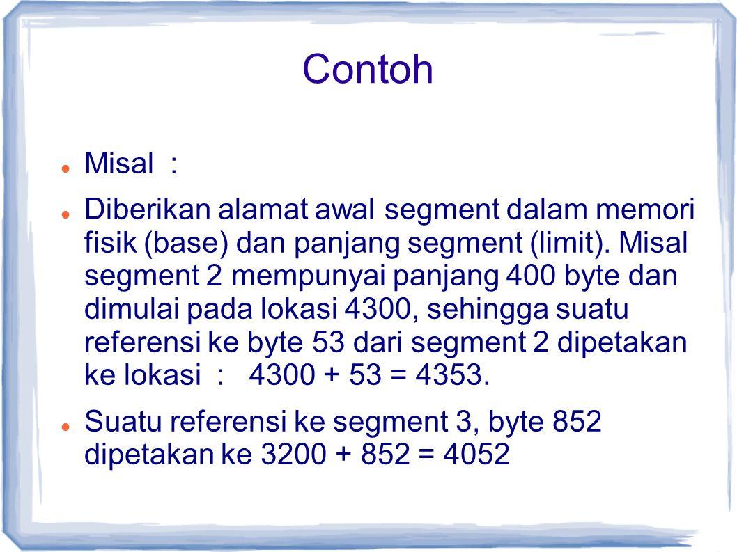Misal : Diberikan alamat awal segment dalam memori fisik (base) dan panjang segment (limit).