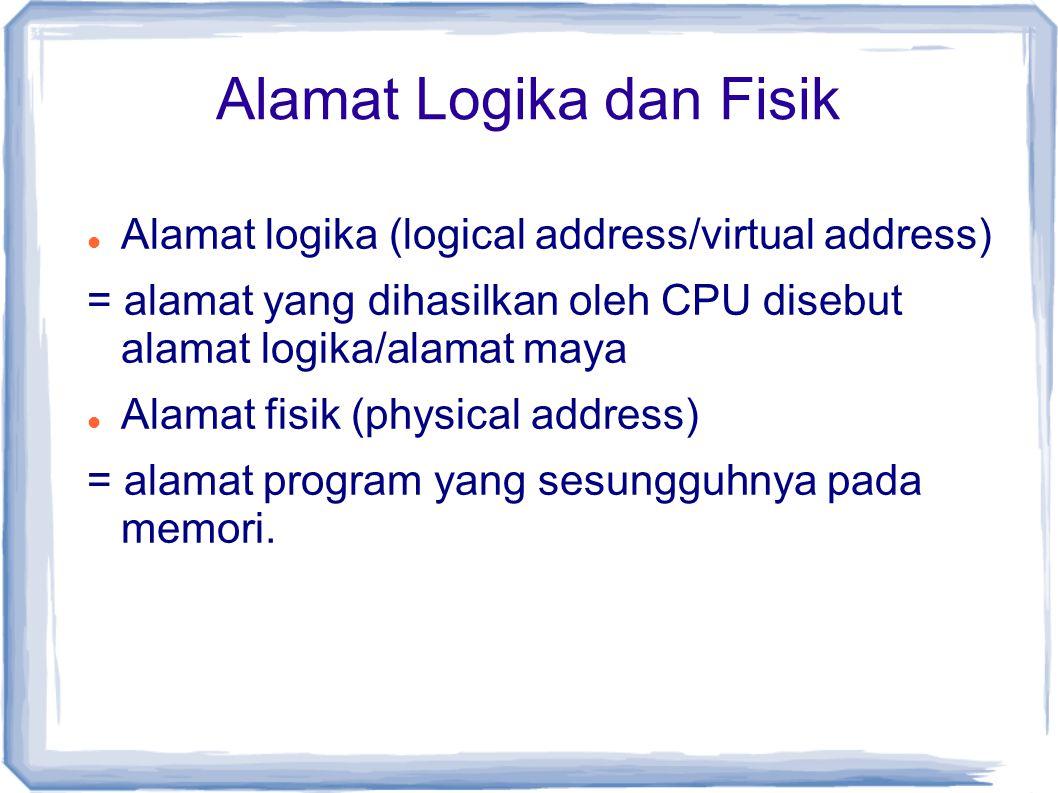 Alamat Logika dan Fisik Alamat logika (logical address/virtual address) = alamat yang dihasilkan oleh CPU disebut alamat logika/alamat maya Alamat fisik (physical address) = alamat program yang sesungguhnya pada memori.
