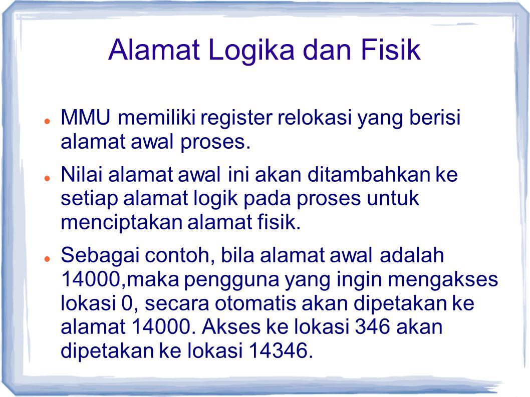 Alamat Logika dan Fisik MMU memiliki register relokasi yang berisi alamat awal proses.