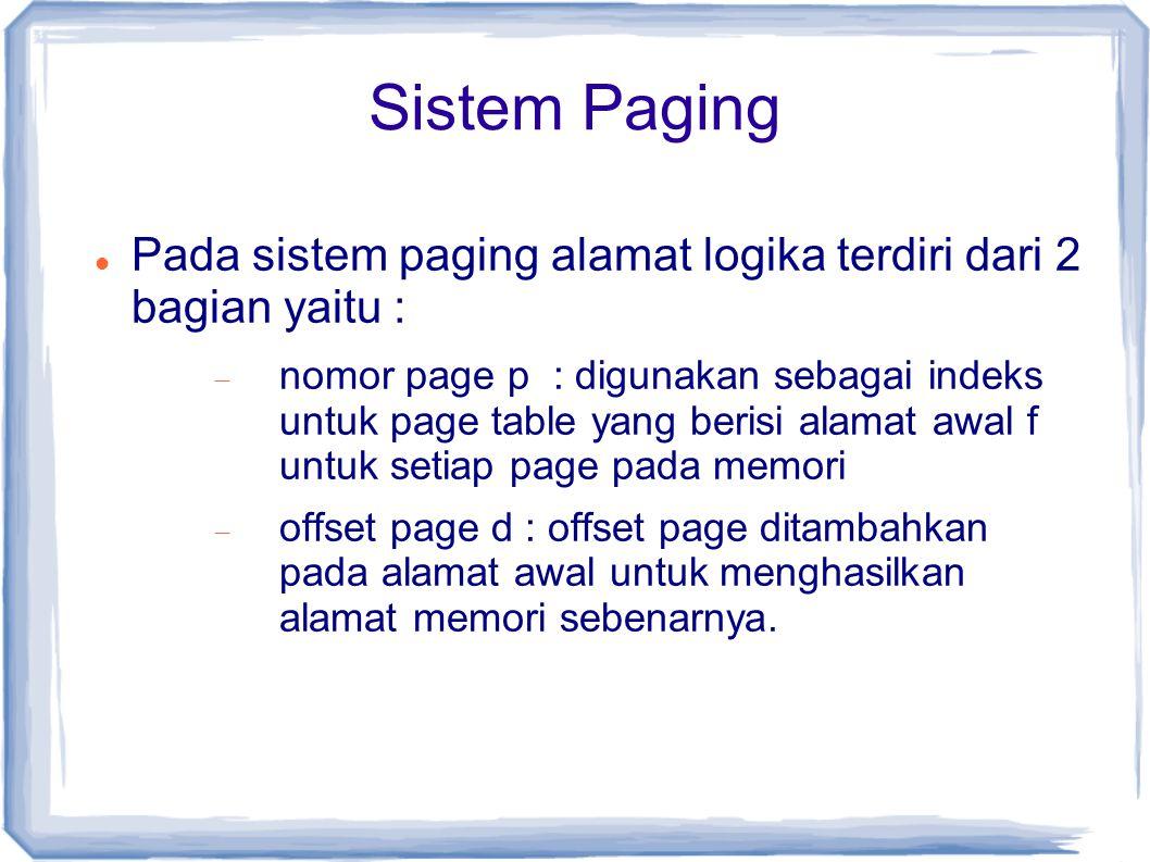 Sistem Paging Pada sistem paging alamat logika terdiri dari 2 bagian yaitu :  nomor page p : digunakan sebagai indeks untuk page table yang berisi alamat awal f untuk setiap page pada memori  offset page d : offset page ditambahkan pada alamat awal untuk menghasilkan alamat memori sebenarnya.
