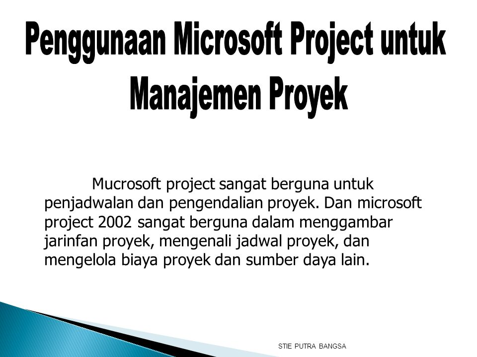 Mucrosoft project sangat berguna untuk penjadwalan dan pengendalian proyek. Dan microsoft project 2002 sangat berguna dalam menggambar jarinfan proyek