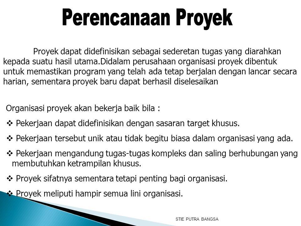 Proyek dapat didefinisikan sebagai sederetan tugas yang diarahkan kepada suatu hasil utama.Didalam perusahaan organisasi proyek dibentuk untuk memasti