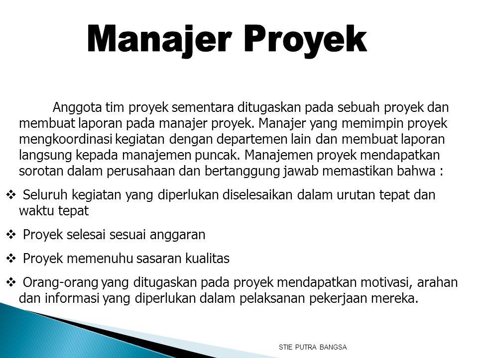 Anggota tim proyek sementara ditugaskan pada sebuah proyek dan membuat laporan pada manajer proyek. Manajer yang memimpin proyek mengkoordinasi kegiat
