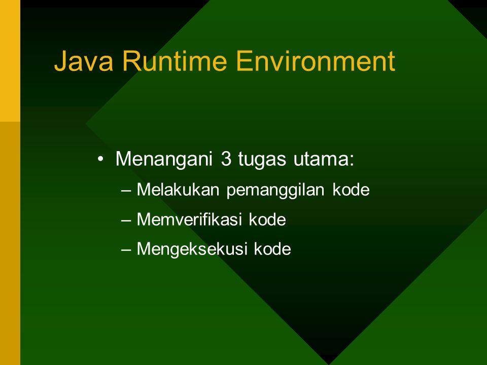 Java Runtime Environment Menangani 3 tugas utama: –Melakukan pemanggilan kode –Memverifikasi kode –Mengeksekusi kode
