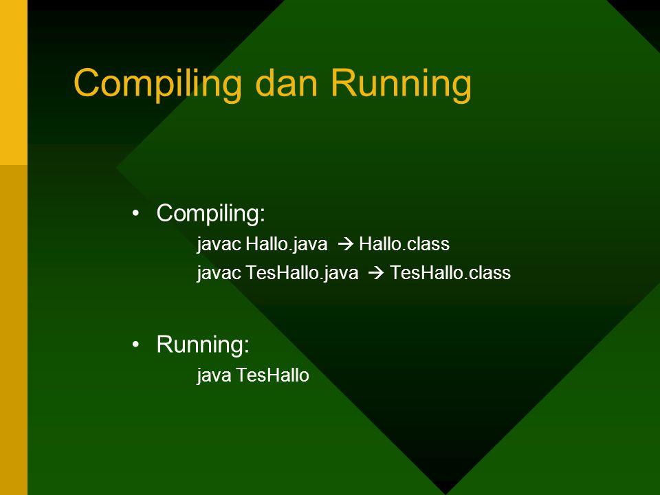 Compiling dan Running Compiling: javac Hallo.java  Hallo.class javac TesHallo.java  TesHallo.class Running: java TesHallo