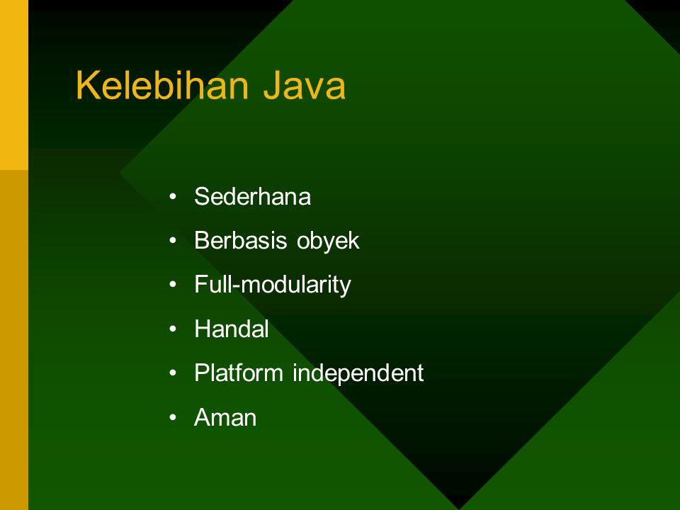Kelebihan Java Sederhana Berbasis obyek Full-modularity Handal Platform independent Aman