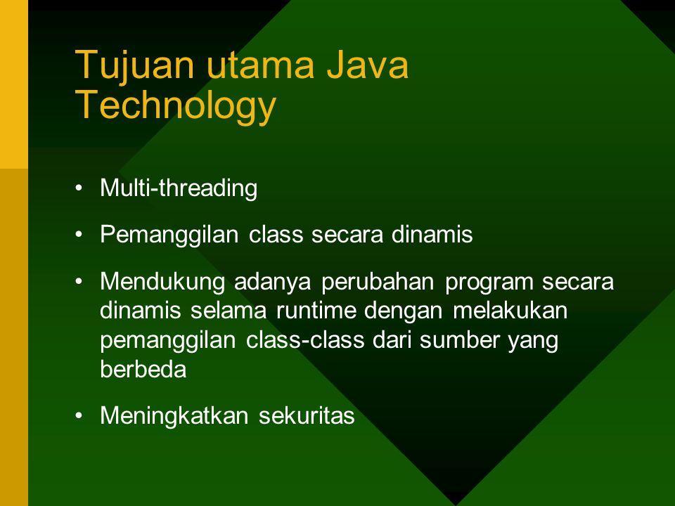 Tujuan utama Java Technology Multi-threading Pemanggilan class secara dinamis Mendukung adanya perubahan program secara dinamis selama runtime dengan