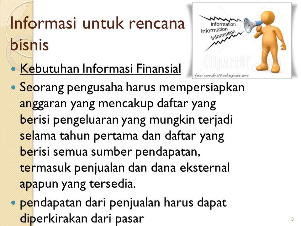 10 Informasi untuk rencana bisnis Kebutuhan Informasi Finansial Seorang pengusaha harus mempersiapkan anggaran yang mencakup daftar yang berisi pengeluaran yang mungkin terjadi selama tahun pertama dan daftar yang berisi semua sumber pendapatan, termasuk penjualan dan dana eksternal apapun yang tersedia.