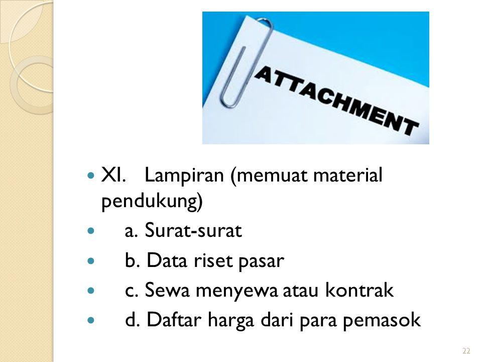 22 XI.Lampiran (memuat material pendukung) a. Surat-surat b.