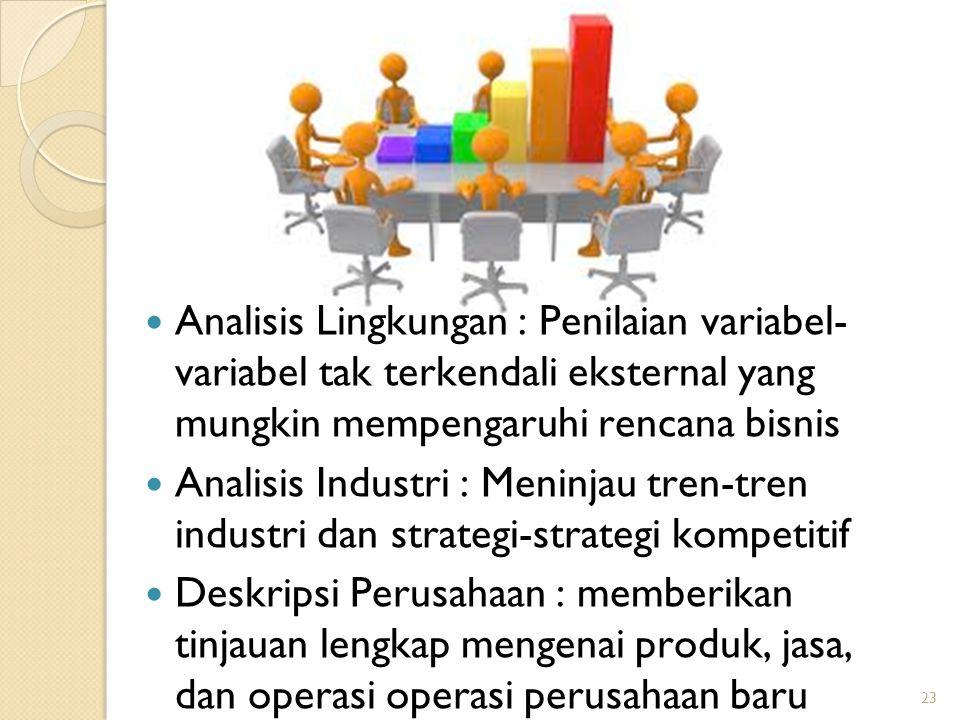 23 Analisis Lingkungan : Penilaian variabel- variabel tak terkendali eksternal yang mungkin mempengaruhi rencana bisnis Analisis Industri : Meninjau tren-tren industri dan strategi-strategi kompetitif Deskripsi Perusahaan : memberikan tinjauan lengkap mengenai produk, jasa, dan operasi operasi perusahaan baru