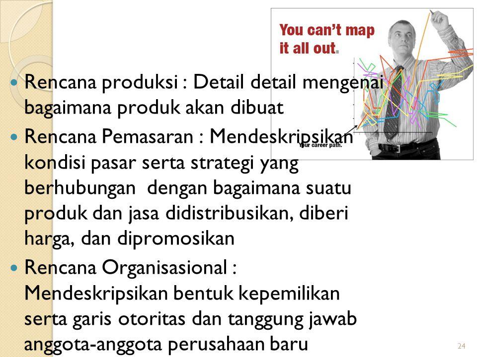 24 Rencana produksi : Detail detail mengenai bagaimana produk akan dibuat Rencana Pemasaran : Mendeskripsikan kondisi pasar serta strategi yang berhubungan dengan bagaimana suatu produk dan jasa didistribusikan, diberi harga, dan dipromosikan Rencana Organisasional : Mendeskripsikan bentuk kepemilikan serta garis otoritas dan tanggung jawab anggota-anggota perusahaan baru