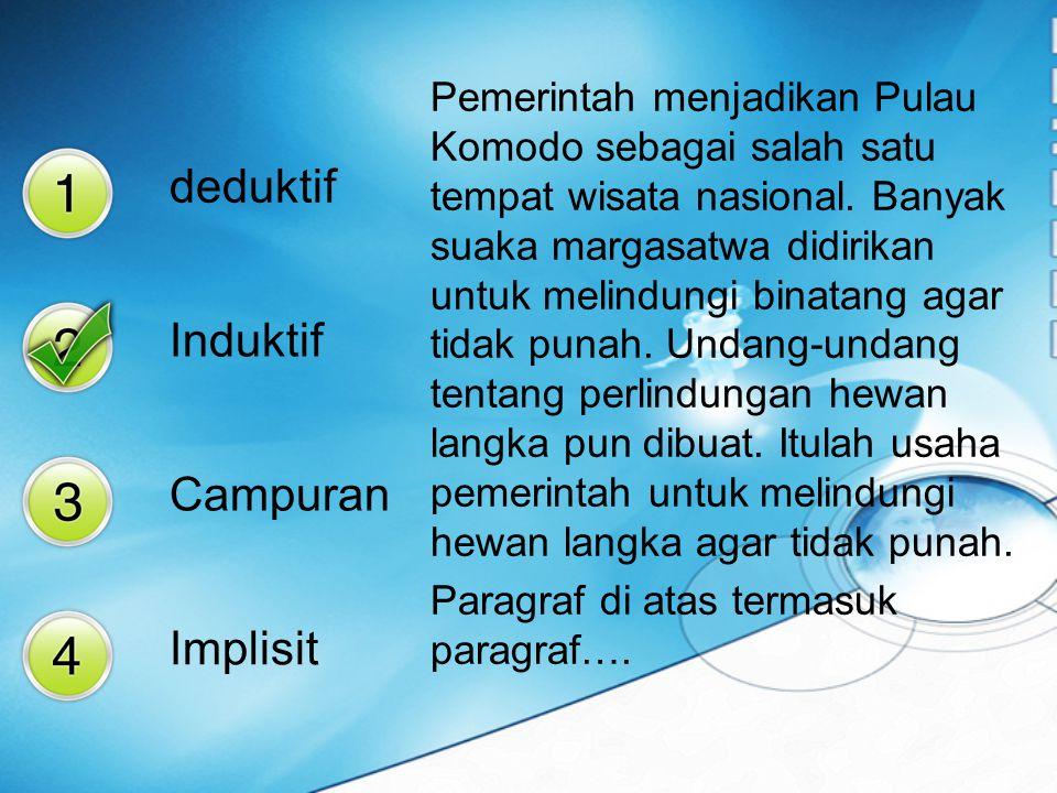 Paragraf yang kalimat utamanya terletak di akhir paragraf disebut… deduktif induktif ineratif implisit