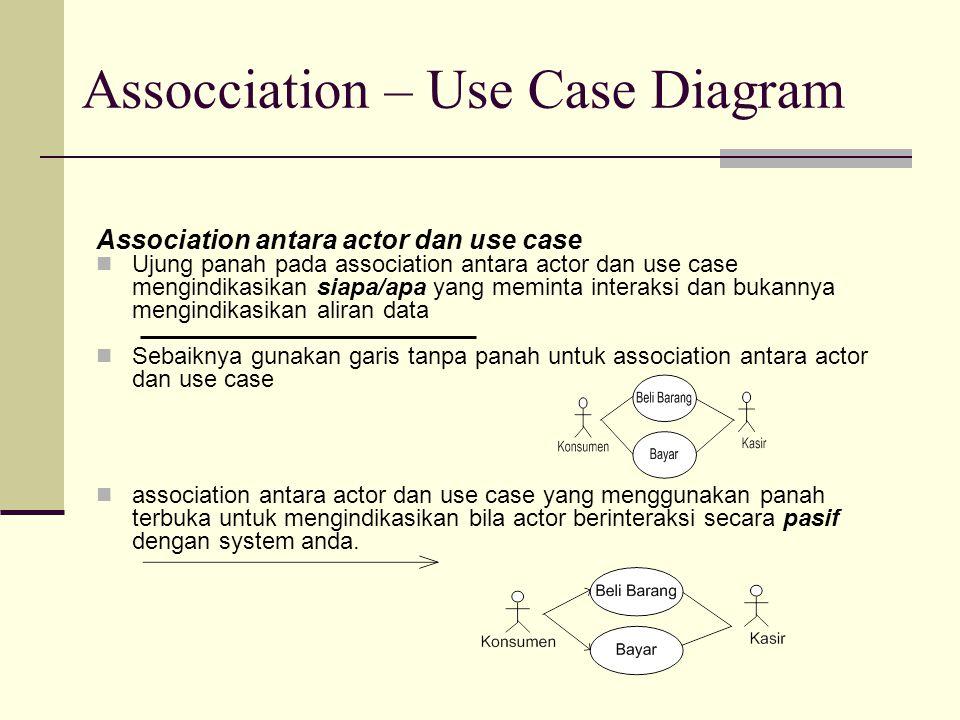 Assocciation – Use Case Diagram Association antara actor dan use case Ujung panah pada association antara actor dan use case mengindikasikan siapa/apa