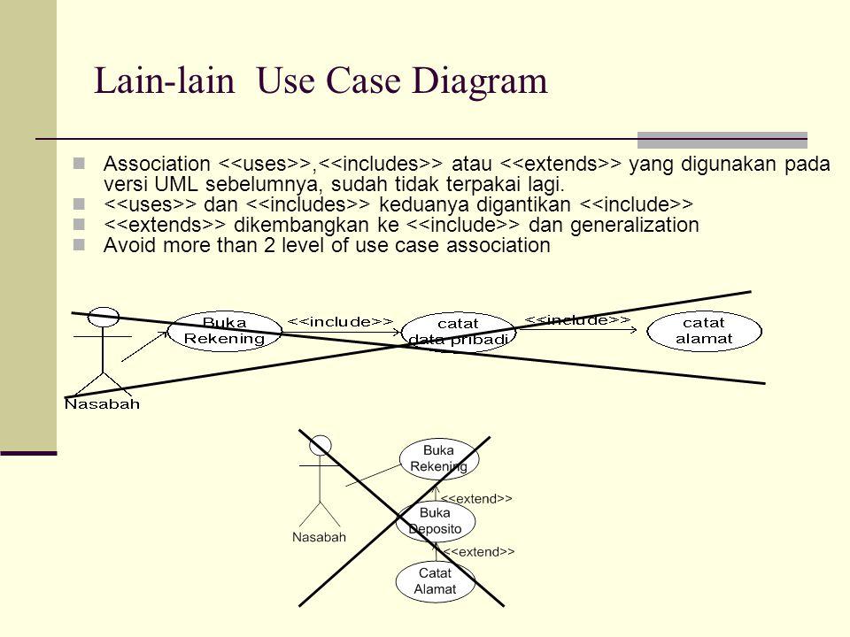 Association >, > atau > yang digunakan pada versi UML sebelumnya, sudah tidak terpakai lagi. > dan > keduanya digantikan > > dikembangkan ke > dan gen