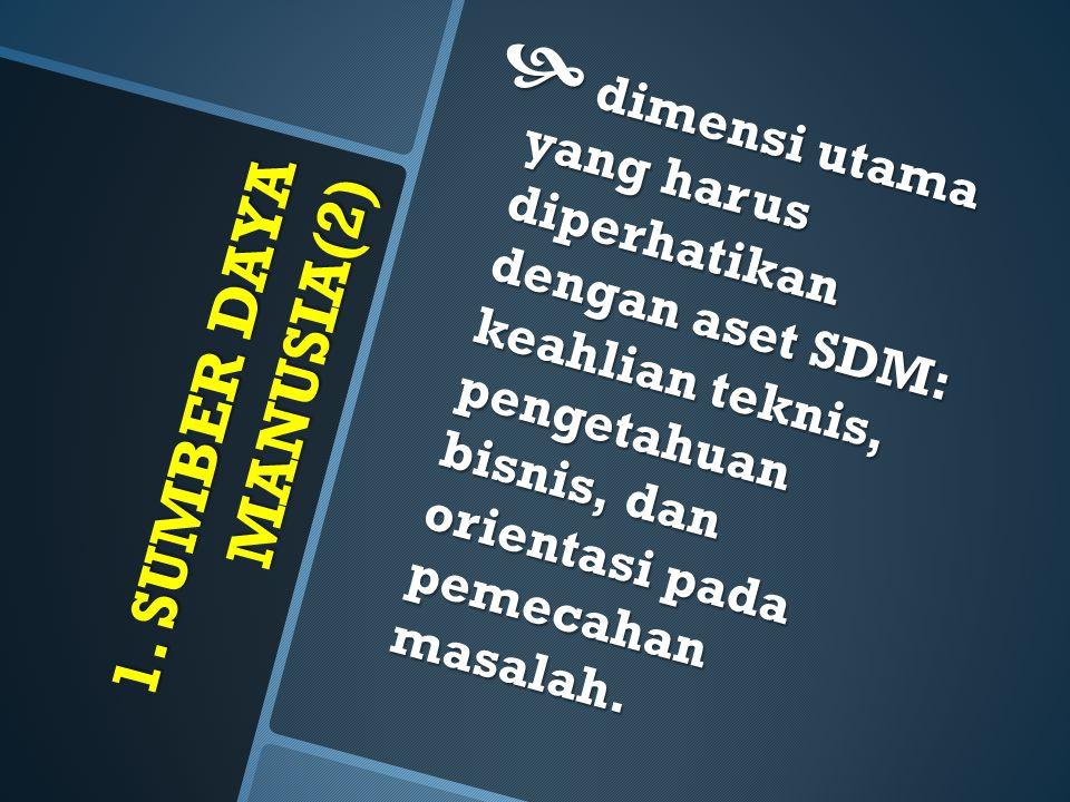 1. SUMBER DAYA MANUSIA(2)  dimensi utama yang harus diperhatikan dengan aset SDM: keahlian teknis, pengetahuan bisnis, dan orientasi pada pemecahan m