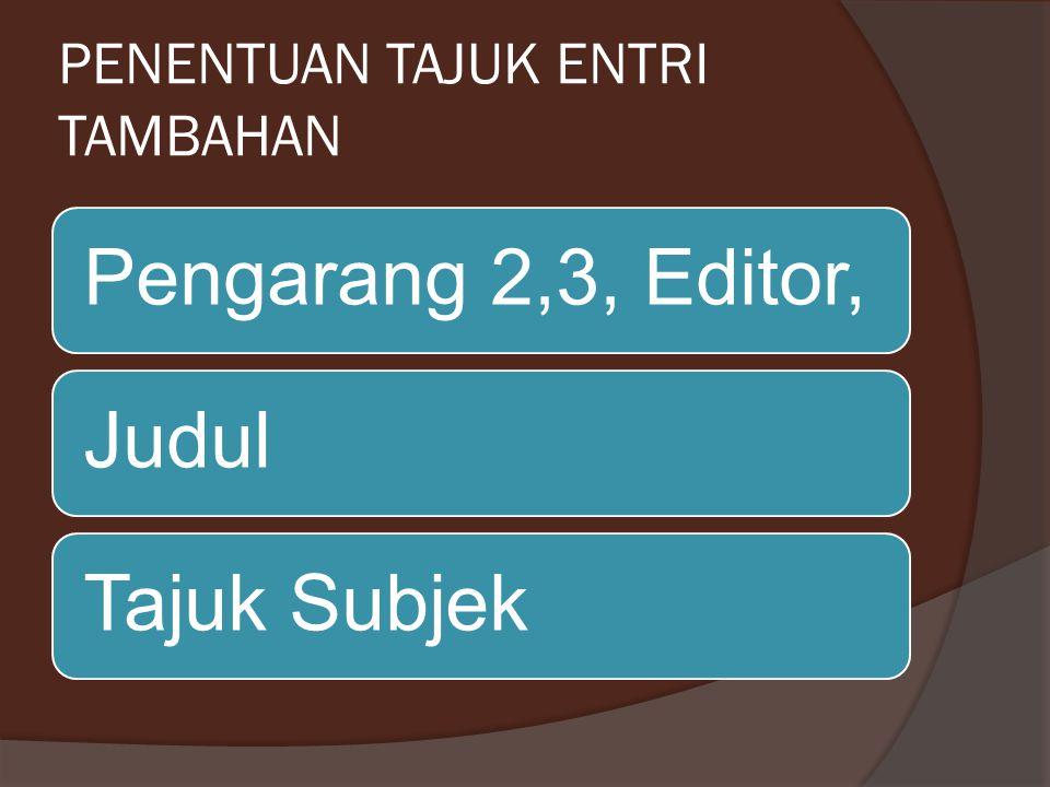 PENENTUAN TAJUK ENTRI TAMBAHAN Pengarang 2,3, Editor,JudulTajuk Subjek