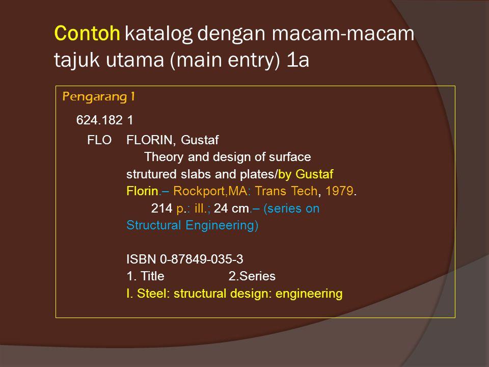Contoh katalog dengan macam-macam tajuk utama (main entry) 1a Pengarang 1 624.182 1 FLO FLORIN, Gustaf Theory and design of surface strutured slabs and plates/by Gustaf Florin.– Rockport,MA: Trans Tech, 1979.