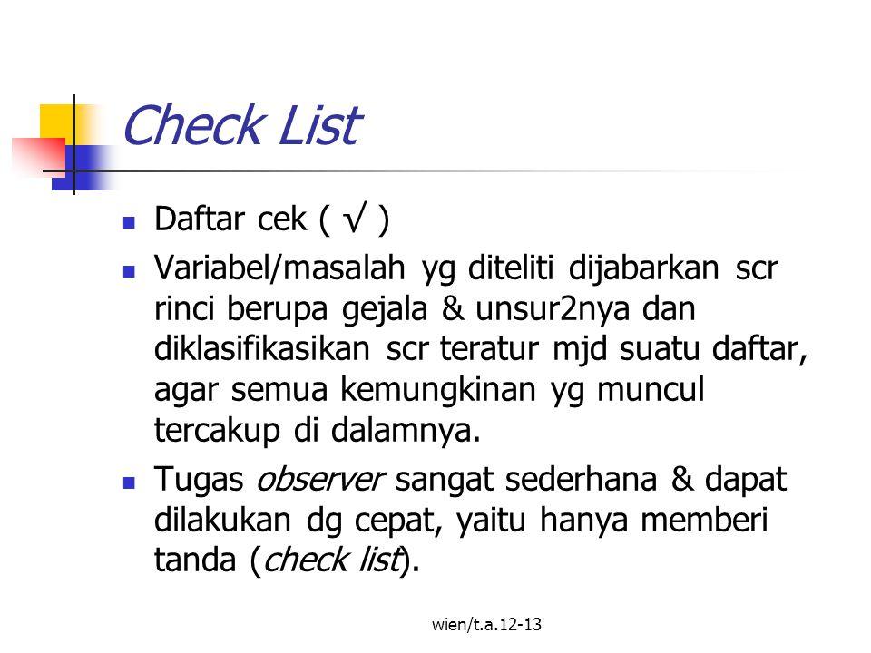 wien/t.a.12-13 Check List Daftar cek ( √ ) Variabel/masalah yg diteliti dijabarkan scr rinci berupa gejala & unsur2nya dan diklasifikasikan scr teratur mjd suatu daftar, agar semua kemungkinan yg muncul tercakup di dalamnya.