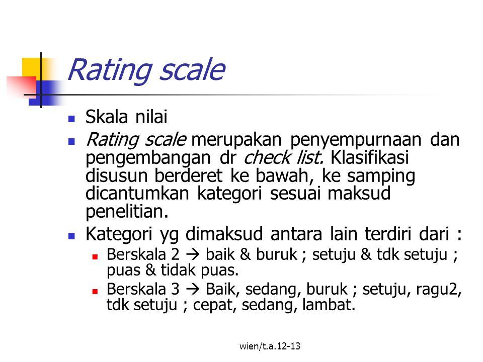wien/t.a.12-13 Rating scale Skala nilai Rating scale merupakan penyempurnaan dan pengembangan dr check list.