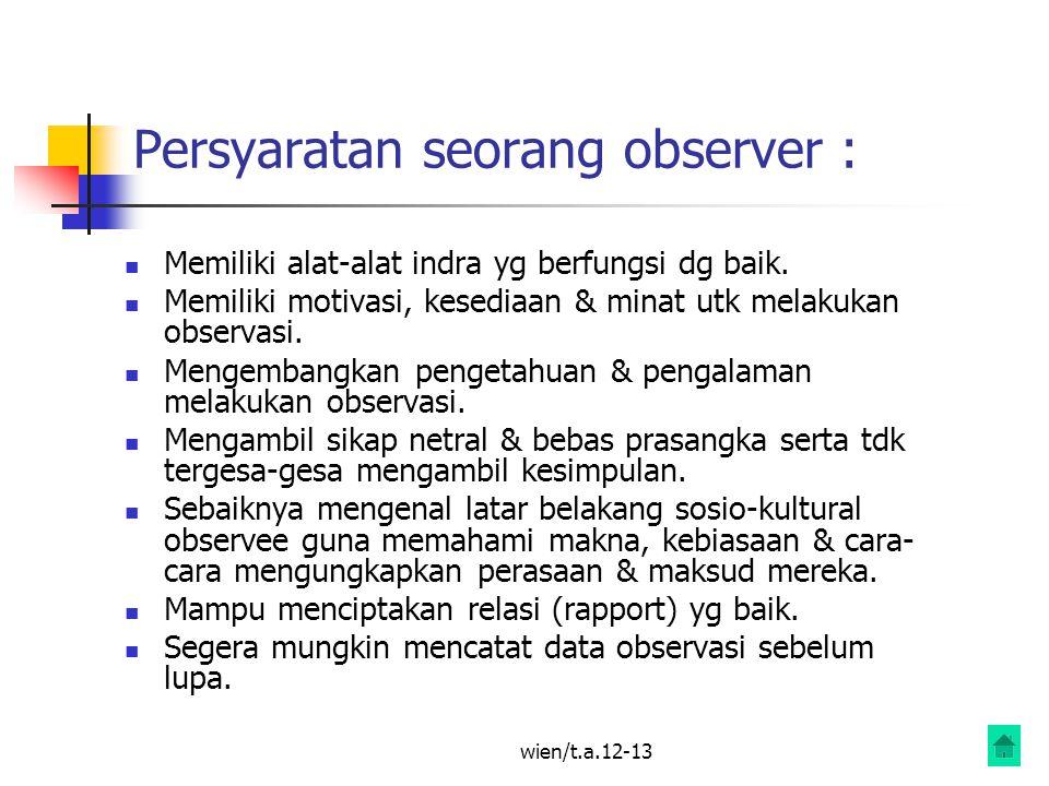 wien/t.a.12-13 Persyaratan seorang observer : Memiliki alat-alat indra yg berfungsi dg baik.