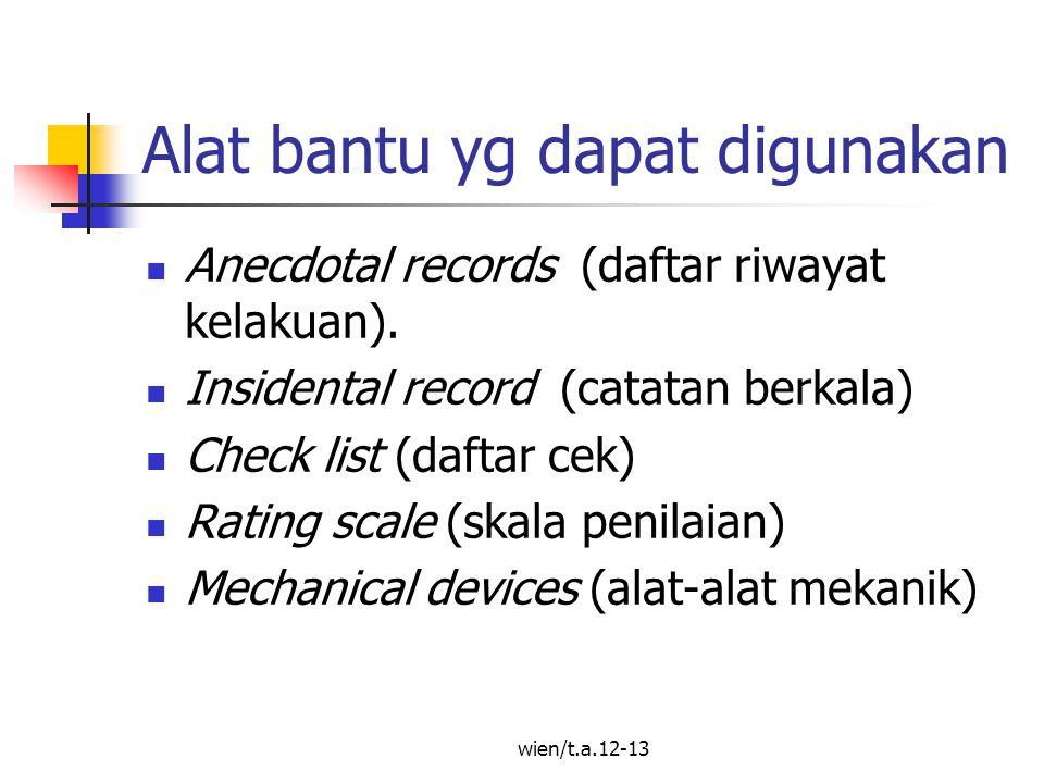 wien/t.a.12-13 Anecdotal Record Merupakan catatan paling sederhana ttg riwayat kelakuan (typical behavior) dalam lembaran kertas / buku.
