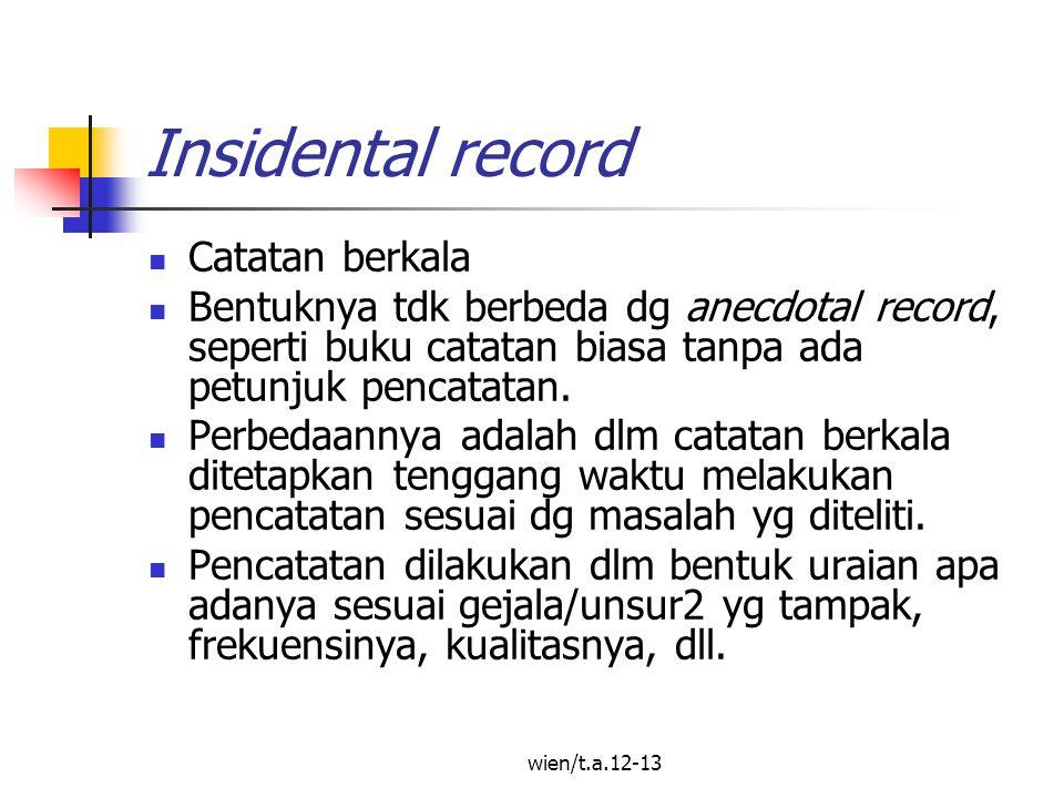 wien/t.a.12-13 Insidental record Catatan berkala Bentuknya tdk berbeda dg anecdotal record, seperti buku catatan biasa tanpa ada petunjuk pencatatan.