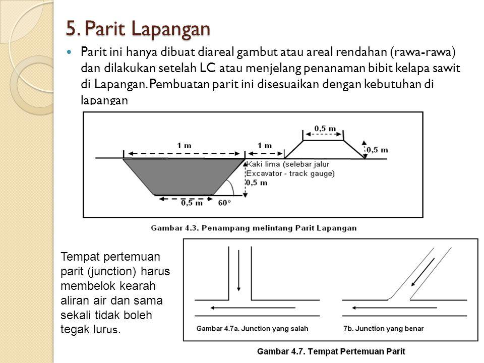 5. Parit Lapangan Parit ini hanya dibuat diareal gambut atau areal rendahan (rawa-rawa) dan dilakukan setelah LC atau menjelang penanaman bibit kelapa