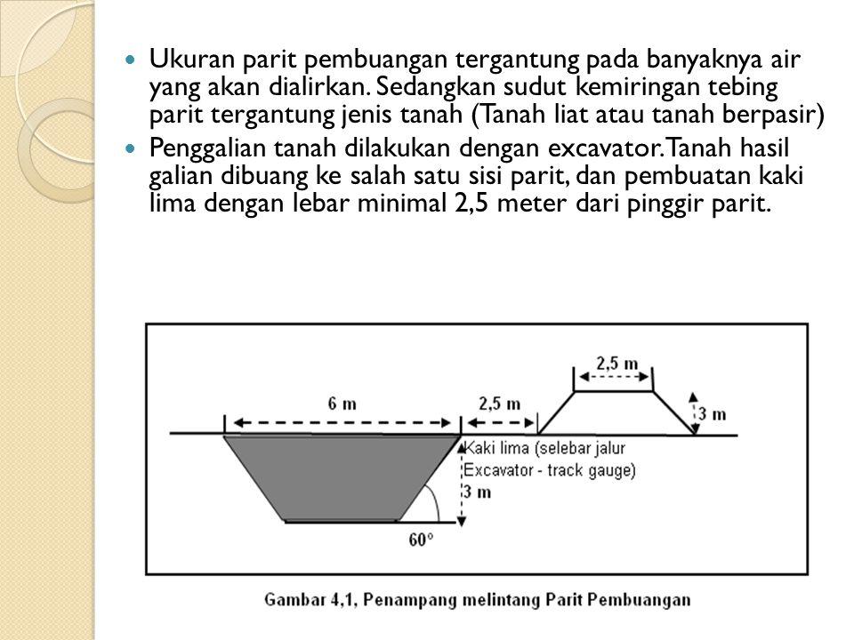 Ukuran parit pembuangan tergantung pada banyaknya air yang akan dialirkan. Sedangkan sudut kemiringan tebing parit tergantung jenis tanah (Tanah liat