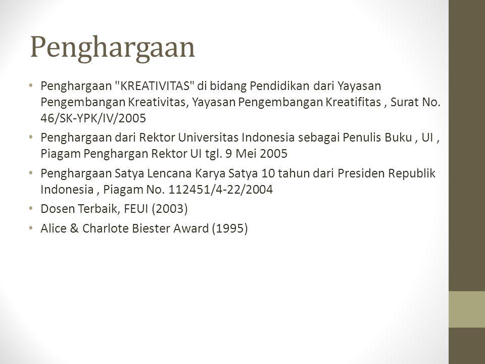 Penghargaan Penghargaan KREATIVITAS di bidang Pendidikan dari Yayasan Pengembangan Kreativitas, Yayasan Pengembangan Kreatifitas, Surat No.