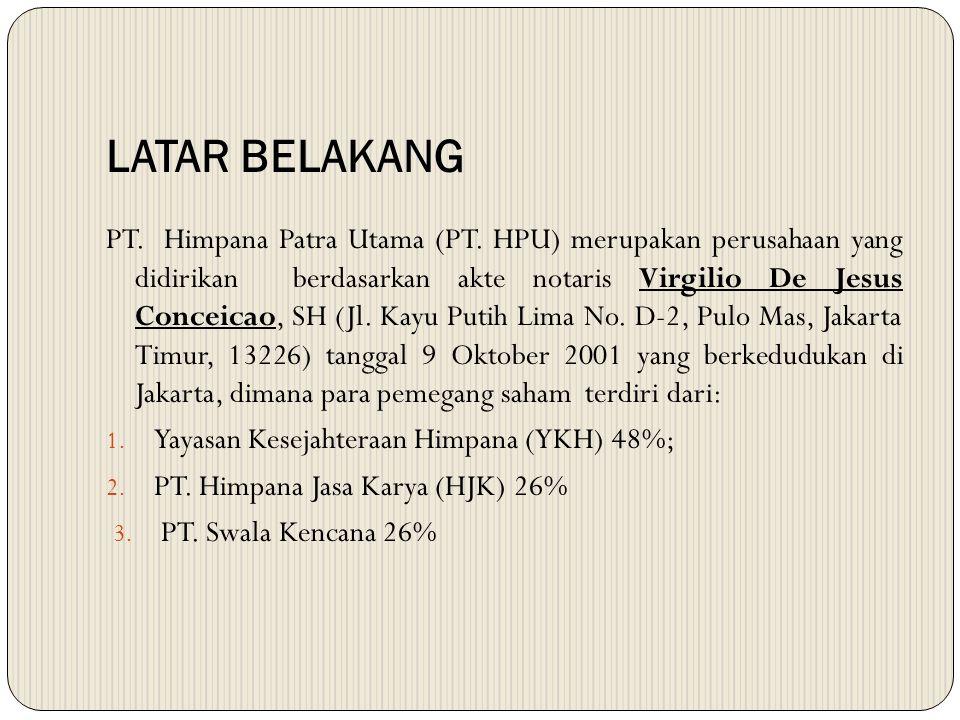 LATAR BELAKANG PT. Himpana Patra Utama (PT. HPU) merupakan perusahaan yang didirikan berdasarkan akte notaris Virgilio De Jesus Conceicao, SH (Jl. Kay
