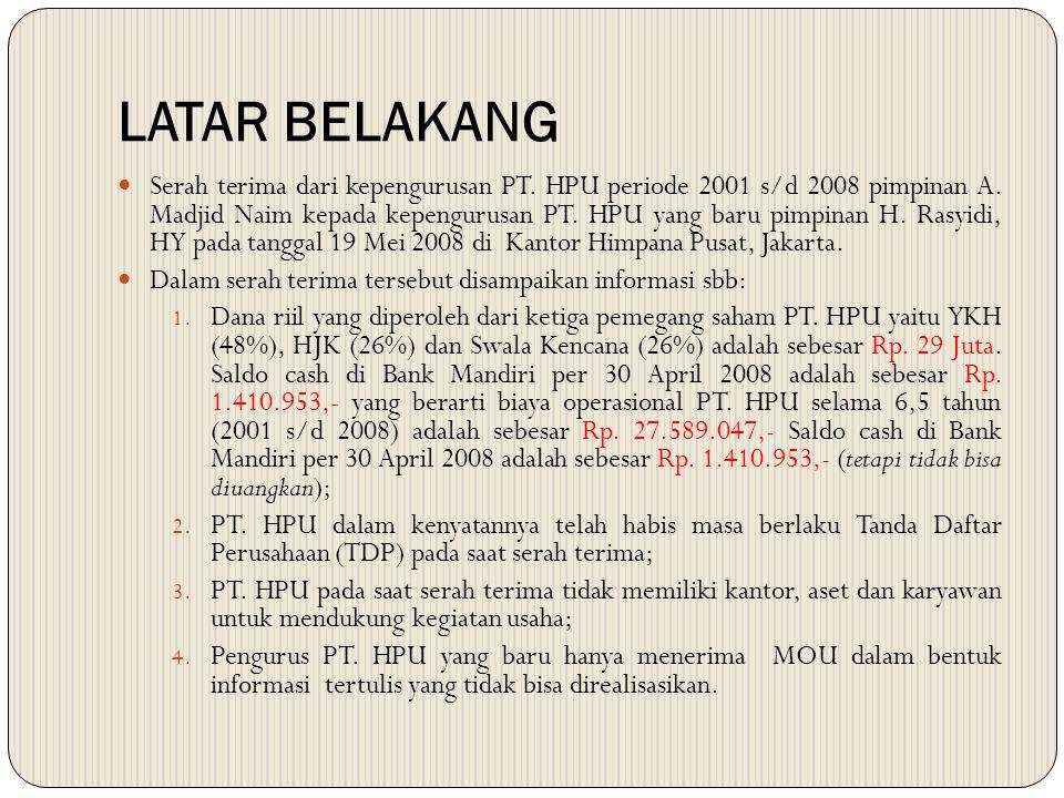 LATAR BELAKANG Serah terima dari kepengurusan PT. HPU periode 2001 s/d 2008 pimpinan A. Madjid Naim kepada kepengurusan PT. HPU yang baru pimpinan H.