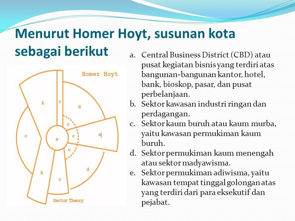 Menurut Homer Hoyt, susunan kota sebagai berikut a. Central Business District (CBD) atau pusat kegiatan bisnis yang terdiri atas bangunan-bangunan kan