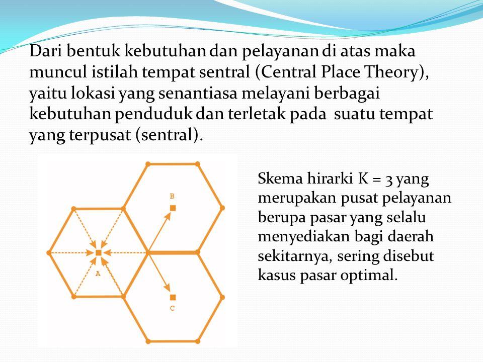 Dari bentuk kebutuhan dan pelayanan di atas maka muncul istilah tempat sentral (Central Place Theory), yaitu lokasi yang senantiasa melayani berbagai