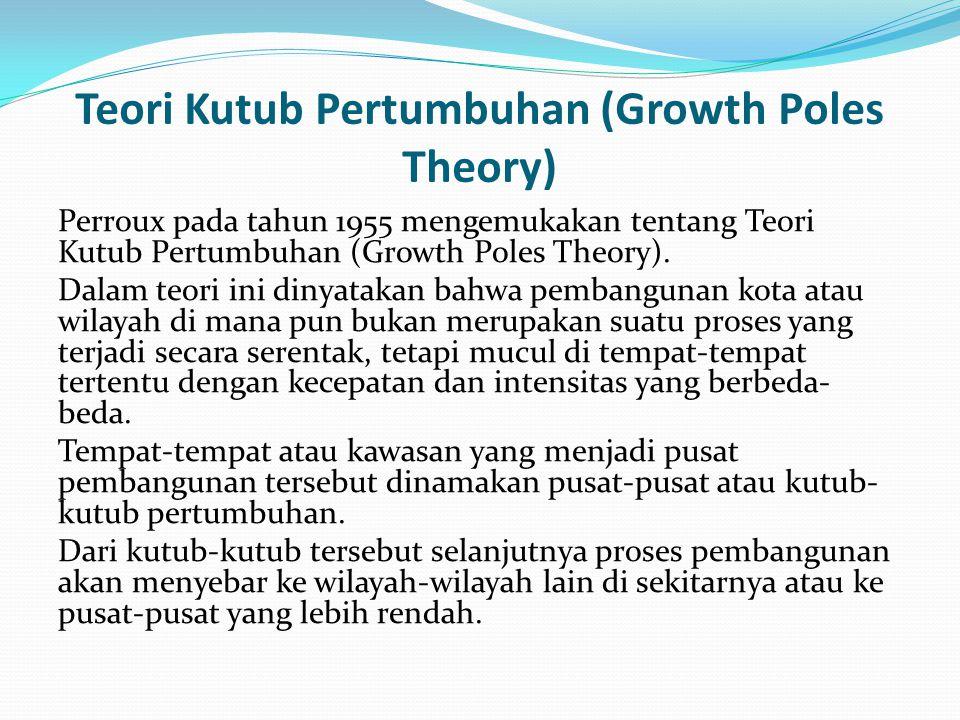 Teori Kutub Pertumbuhan (Growth Poles Theory) Perroux pada tahun 1955 mengemukakan tentang Teori Kutub Pertumbuhan (Growth Poles Theory).