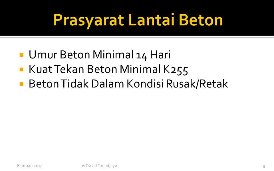  Umur Beton Minimal 14 Hari  Kuat Tekan Beton Minimal K255  Beton Tidak Dalam Kondisi Rusak/Retak Februari 2014by David Tanudjaya9