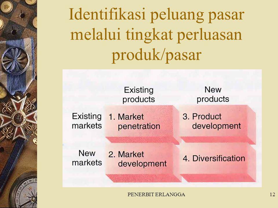 PENERBIT ERLANGGA12 Identifikasi peluang pasar melalui tingkat perluasan produk/pasar