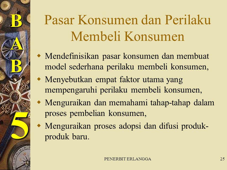 PENERBIT ERLANGGA25 Pasar Konsumen dan Perilaku Membeli Konsumen  Mendefinisikan pasar konsumen dan membuat model sederhana perilaku membeli konsumen