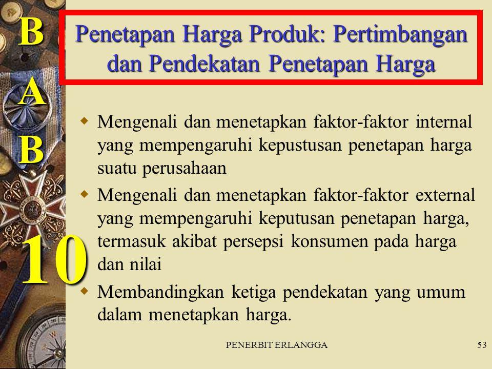 PENERBIT ERLANGGA53 Penetapan Harga Produk: Pertimbangan dan Pendekatan Penetapan Harga  Mengenali dan menetapkan faktor-faktor internal yang mempeng