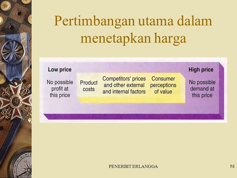 PENERBIT ERLANGGA58 Pertimbangan utama dalam menetapkan harga