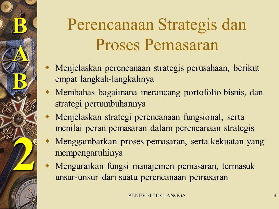 PENERBIT ERLANGGA9 Langkah-langkah dalam perencanaan strategis  Mendefinisikan misi perusahaan  Menetapkan tujuan dan sasaran perusahaan  Merancang portofolio bisnis  Merencanakan, memasarkan, dan strategi fungsional yang lain