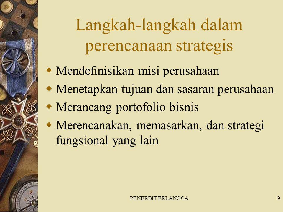 PENERBIT ERLANGGA9 Langkah-langkah dalam perencanaan strategis  Mendefinisikan misi perusahaan  Menetapkan tujuan dan sasaran perusahaan  Merancang